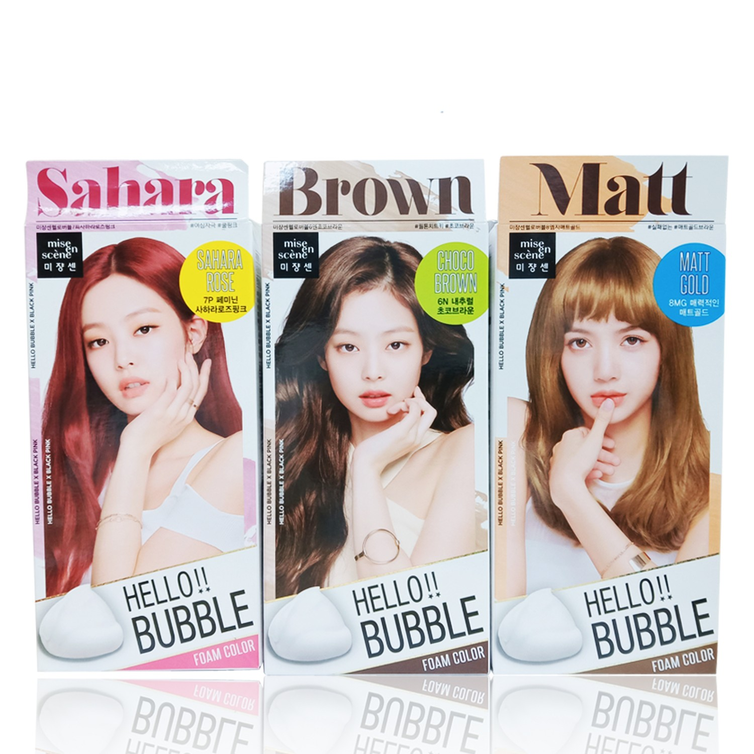 Mise En Scene Hello Bubble X Black Pink Hair Color Foam Color SAHARA,BROWN,MATT